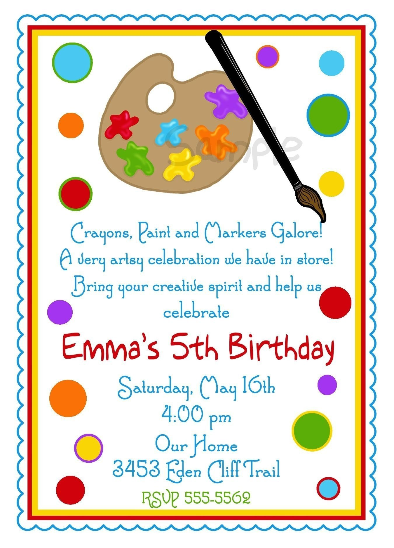 art birthday party invitations for your