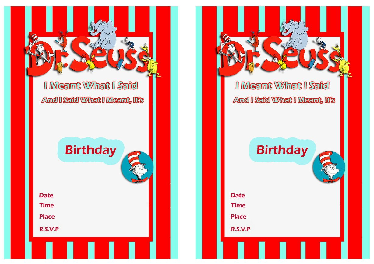 Free Printable Dr Seuss First Birthday Invitations Free