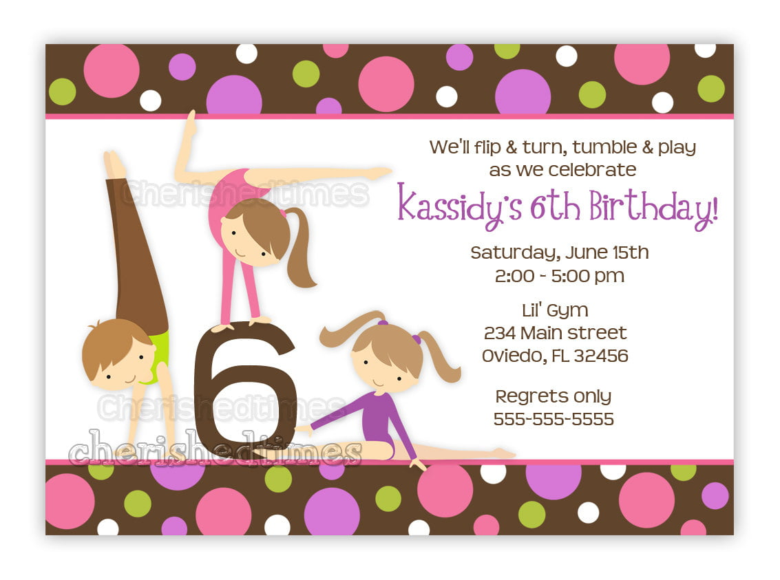 gymnastic birthday invitations free