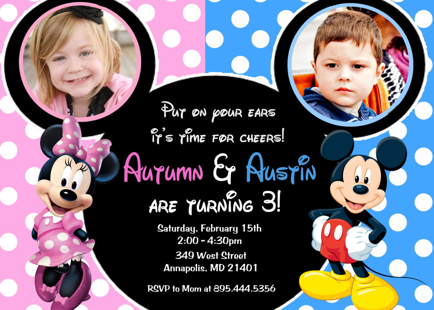 double kids birthday party invitations