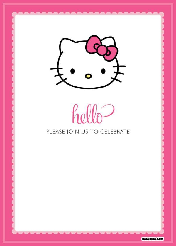 Free Printable Kitty Birthday Invitations