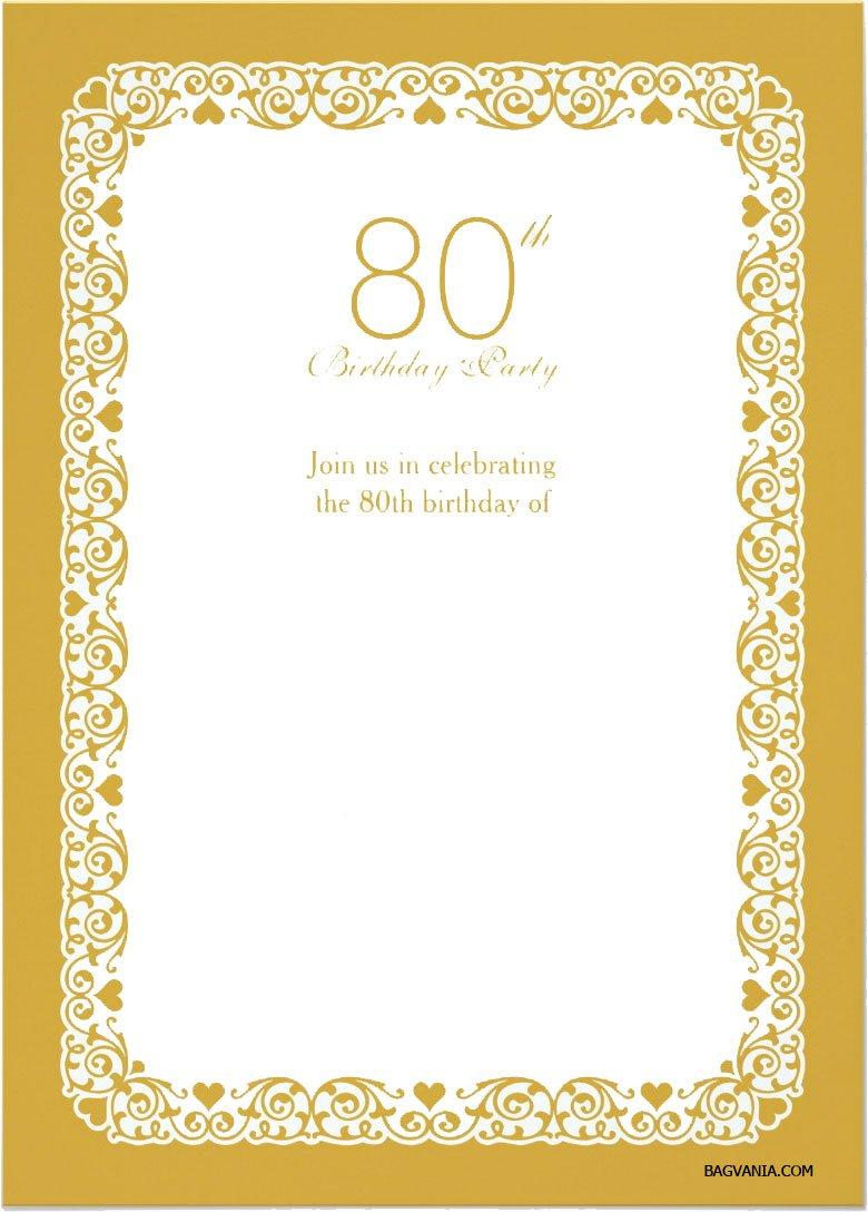 Free Printable 80th Birthday Invitations FREE