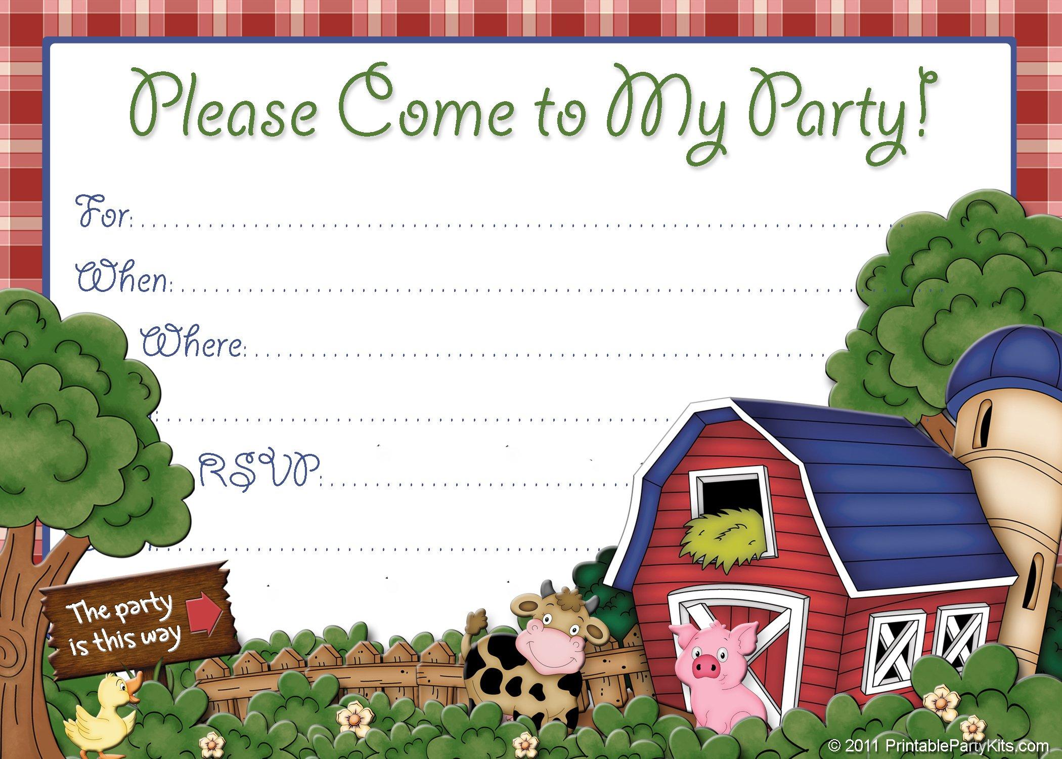free farm birthday invitations free