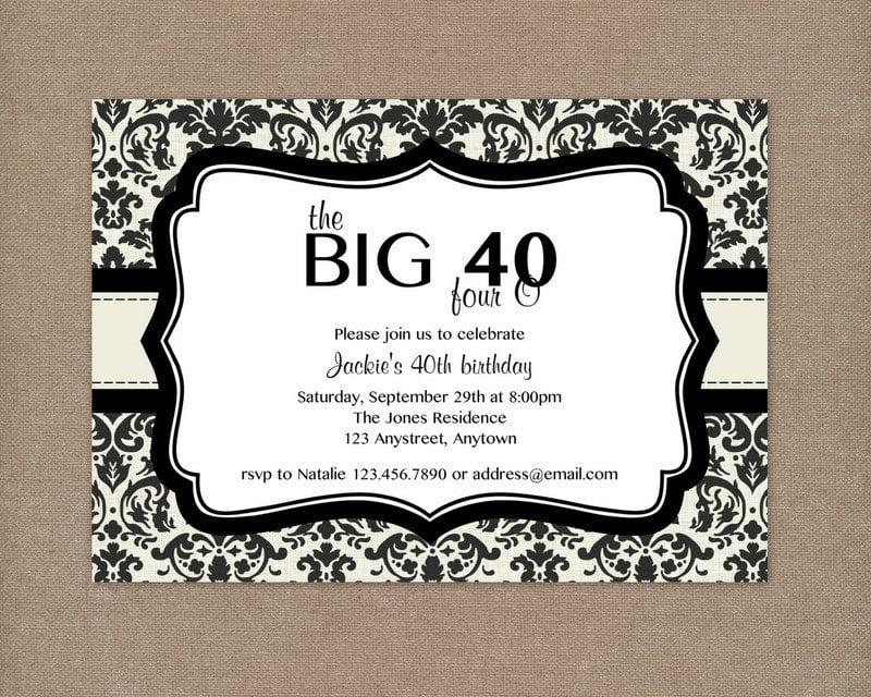 free 40th birthday invitation wording