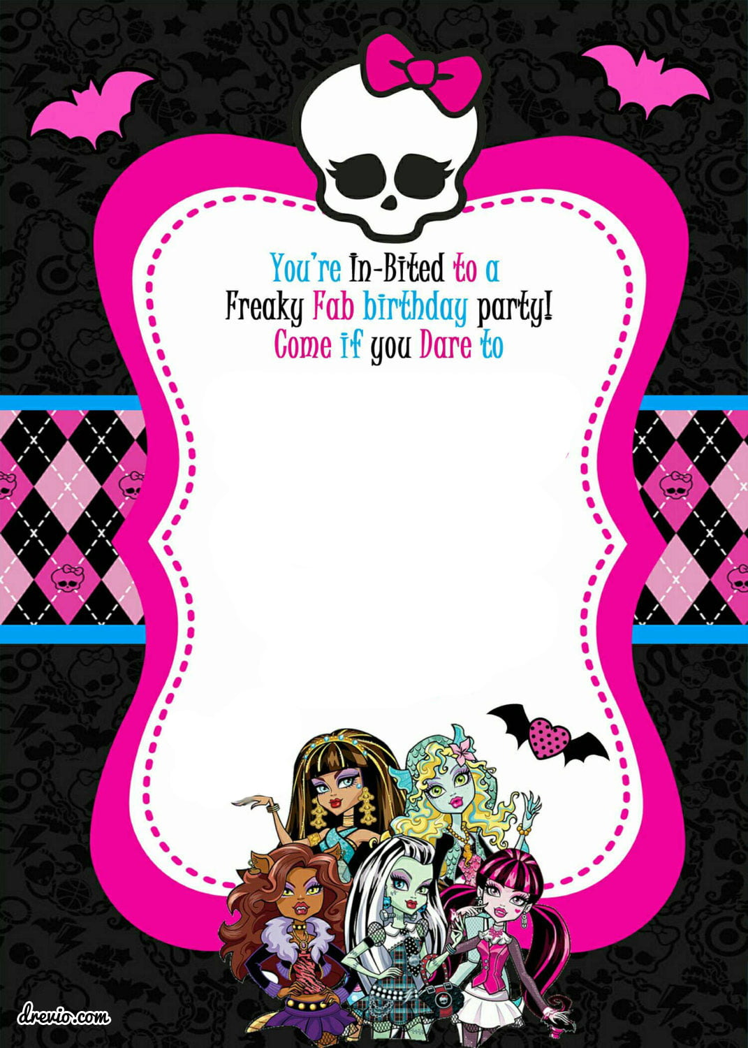 Free Printable Monster High Birthday Invitations Layout