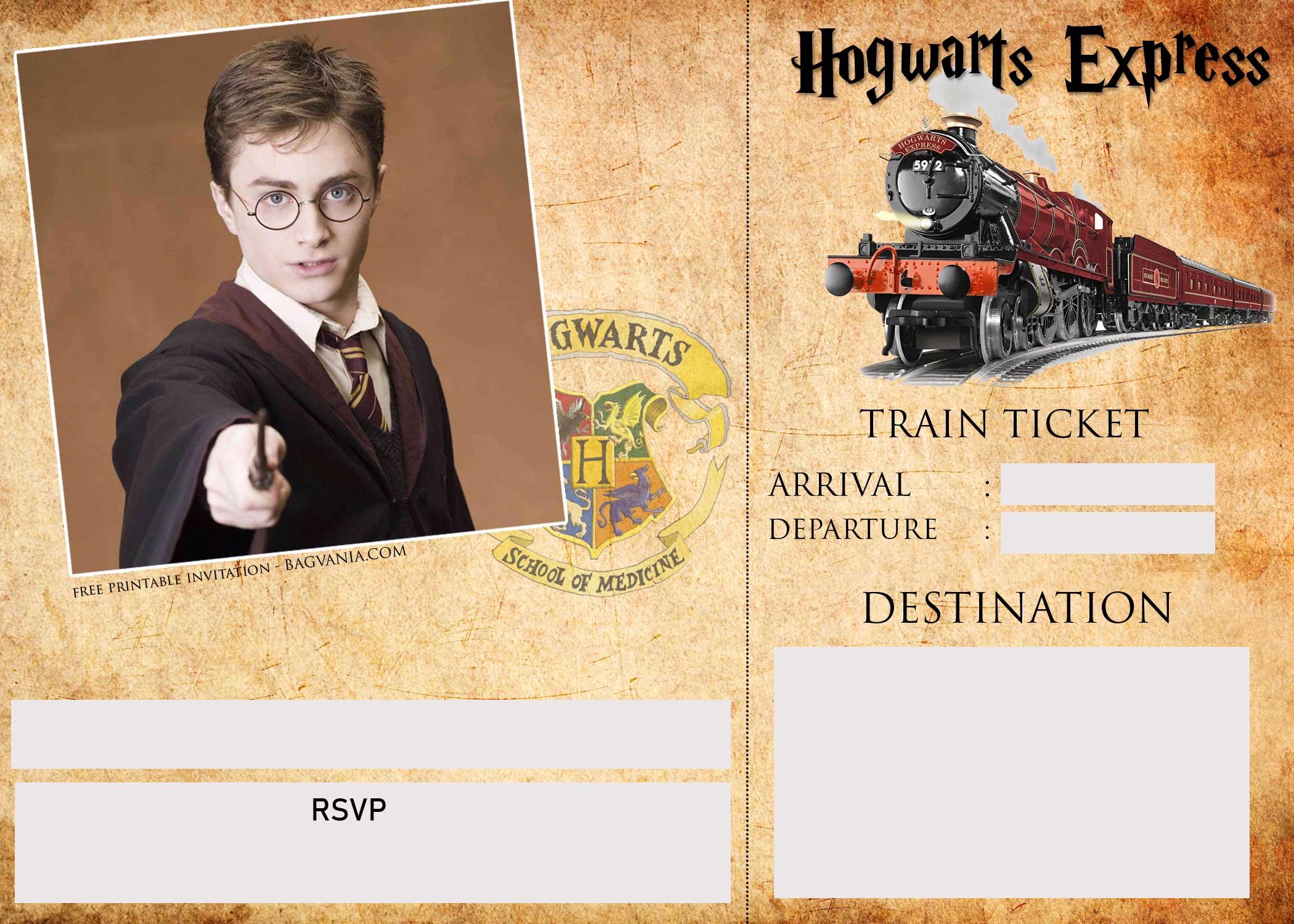 harry potter ticket invitation template