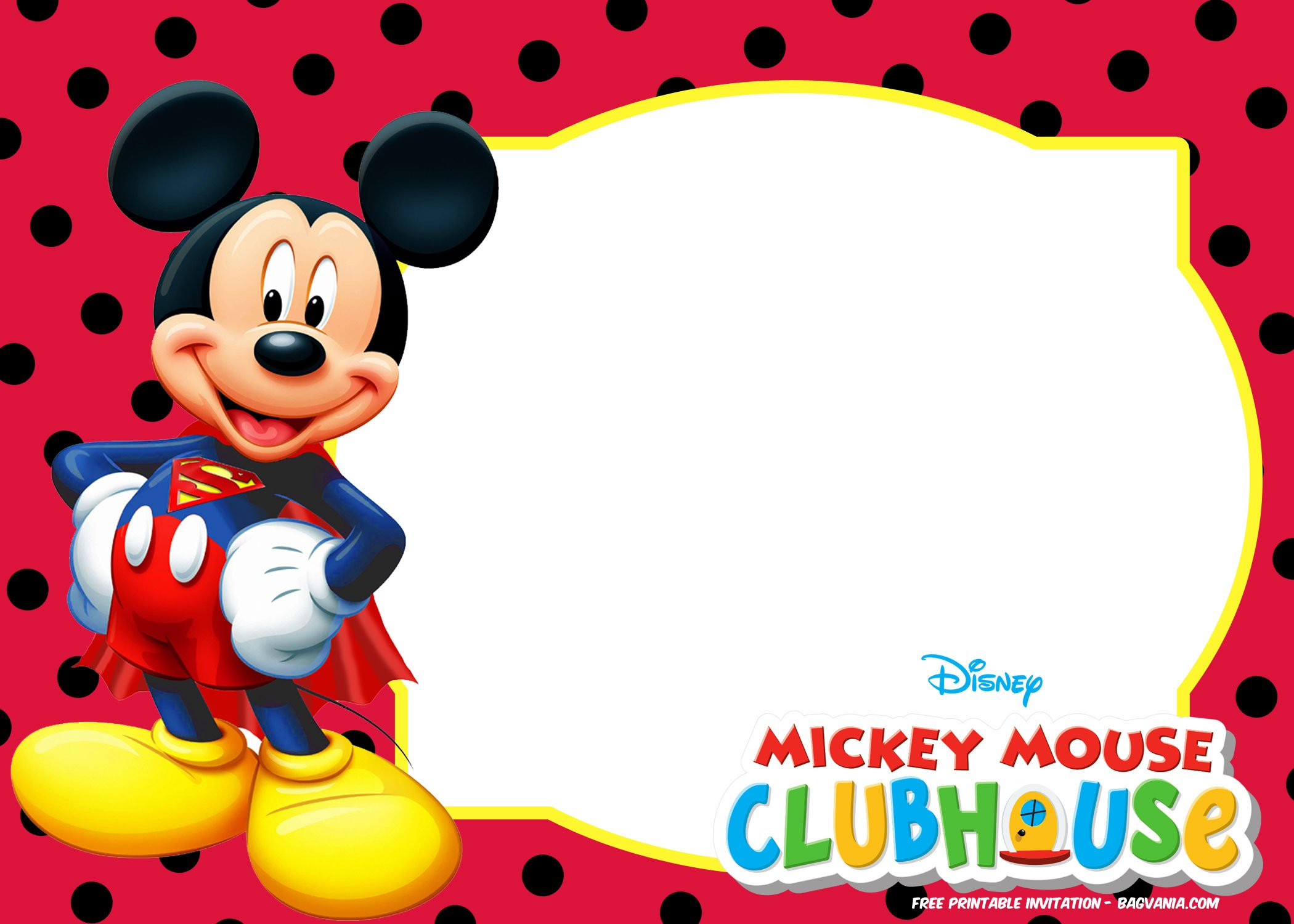 Free Mickey Mouse Invitation Templates Polka Dots Free