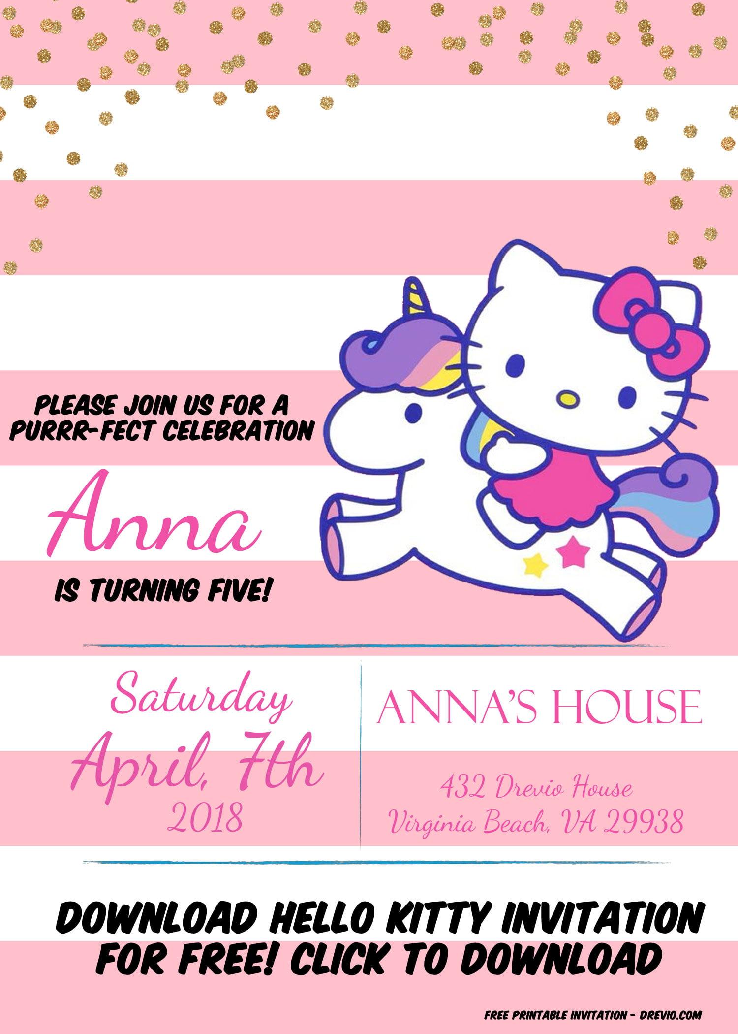 hello kitty unicorn invitation template