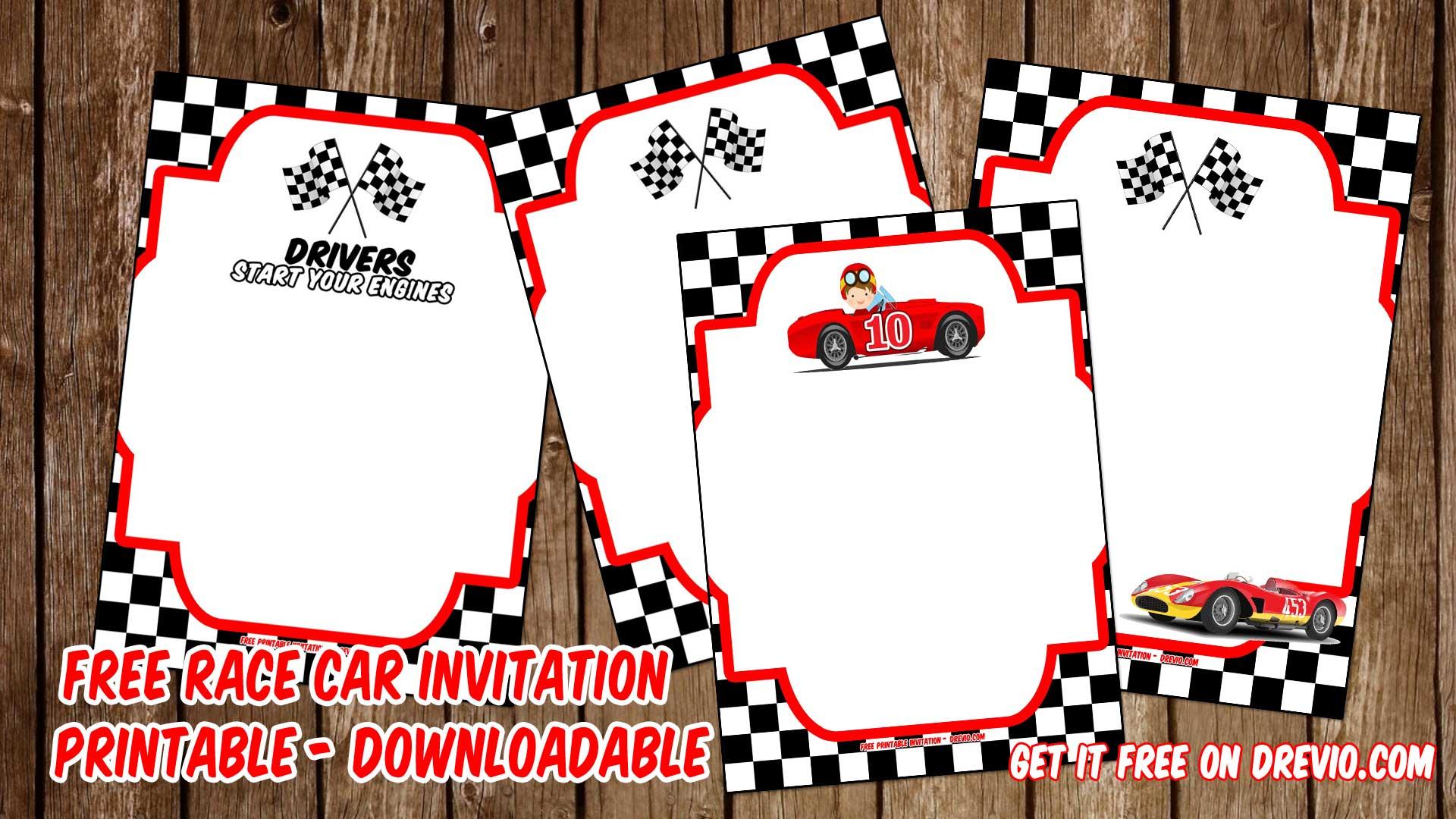 free printable race car invitation