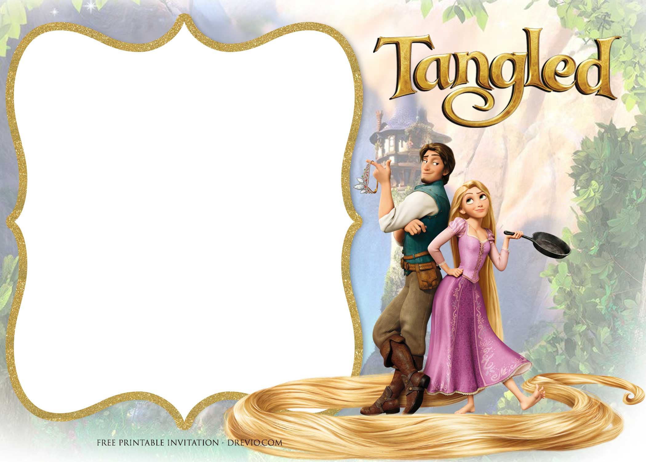 Free Printable Tangled Rapunzel Invitation Templates