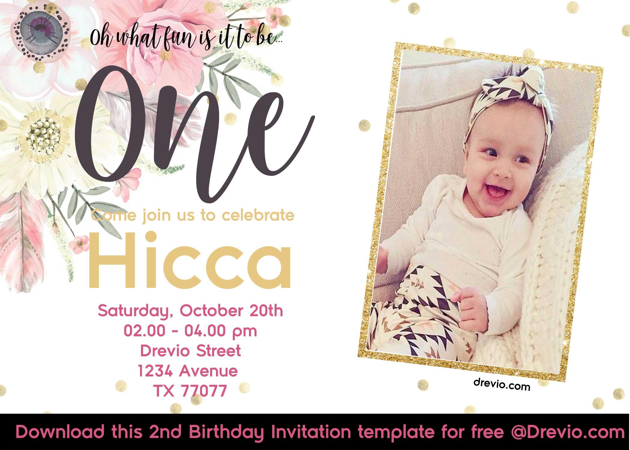 free printabe boho chic first birthday