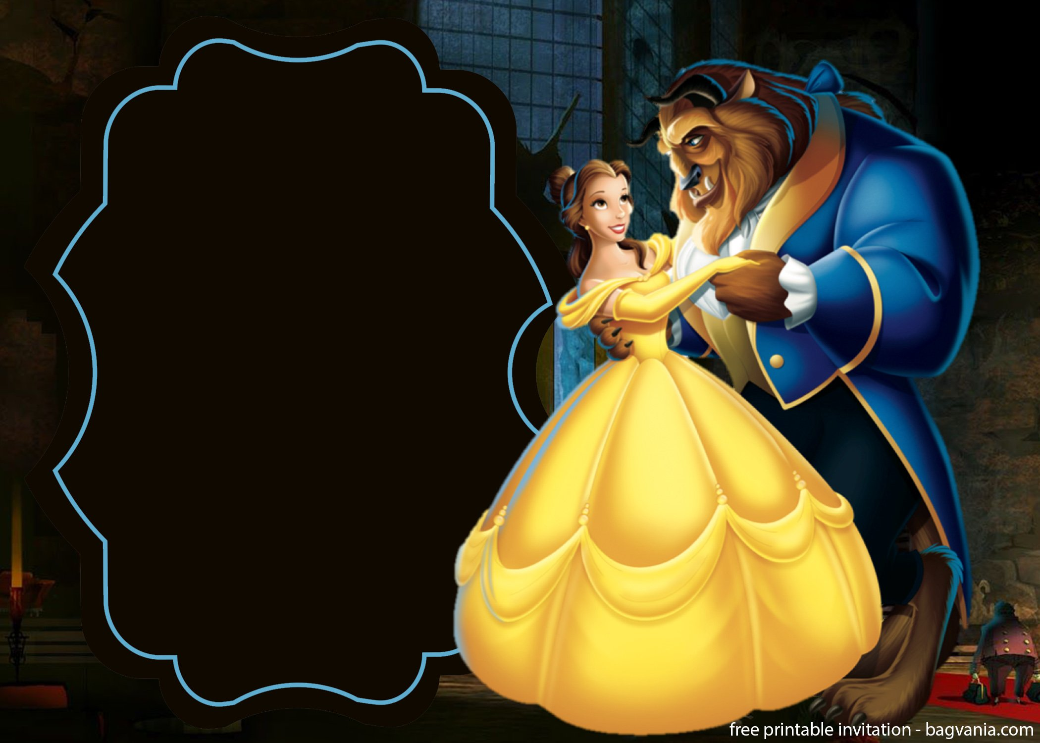 Free Beauty And The Beast With Photo Invitation Template