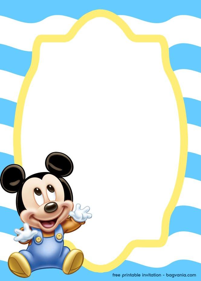 Free Mickey Mouse Baby Invitation Template Bagvania