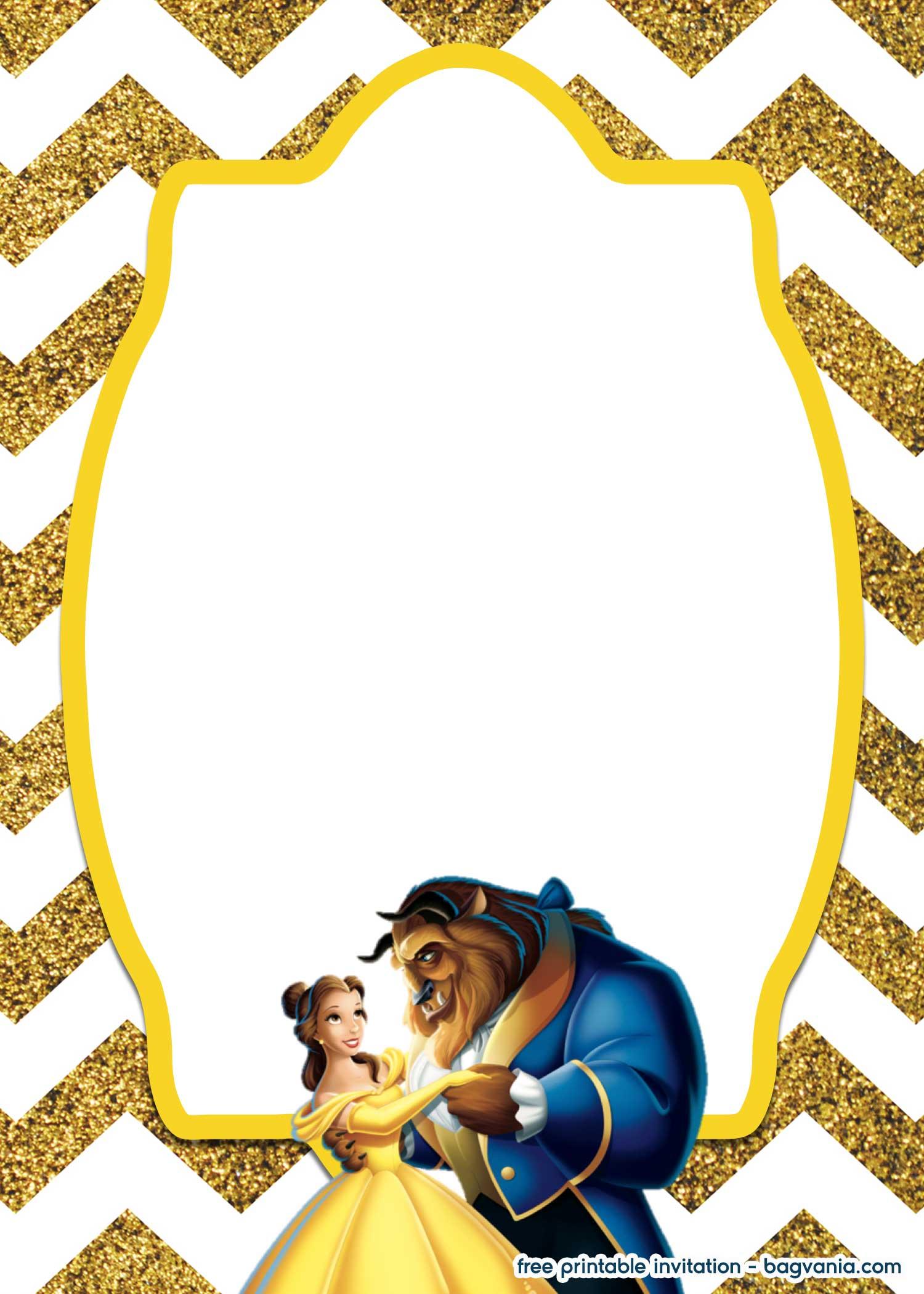 Free Royal Beauty And The Beast Invitation Template Bagvania