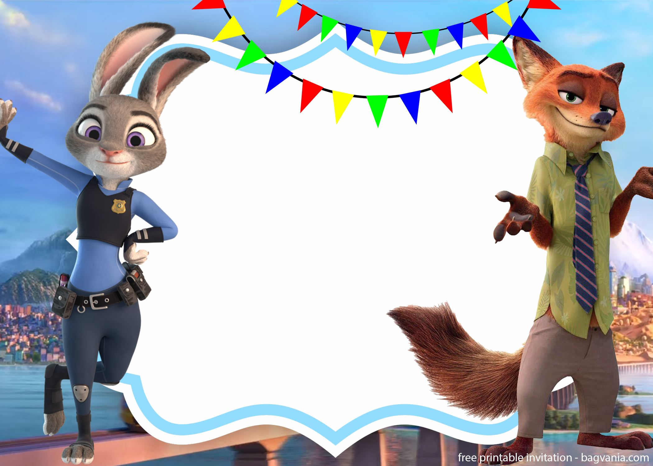 Free Zootopia Nick And Judy Invitation Template Free