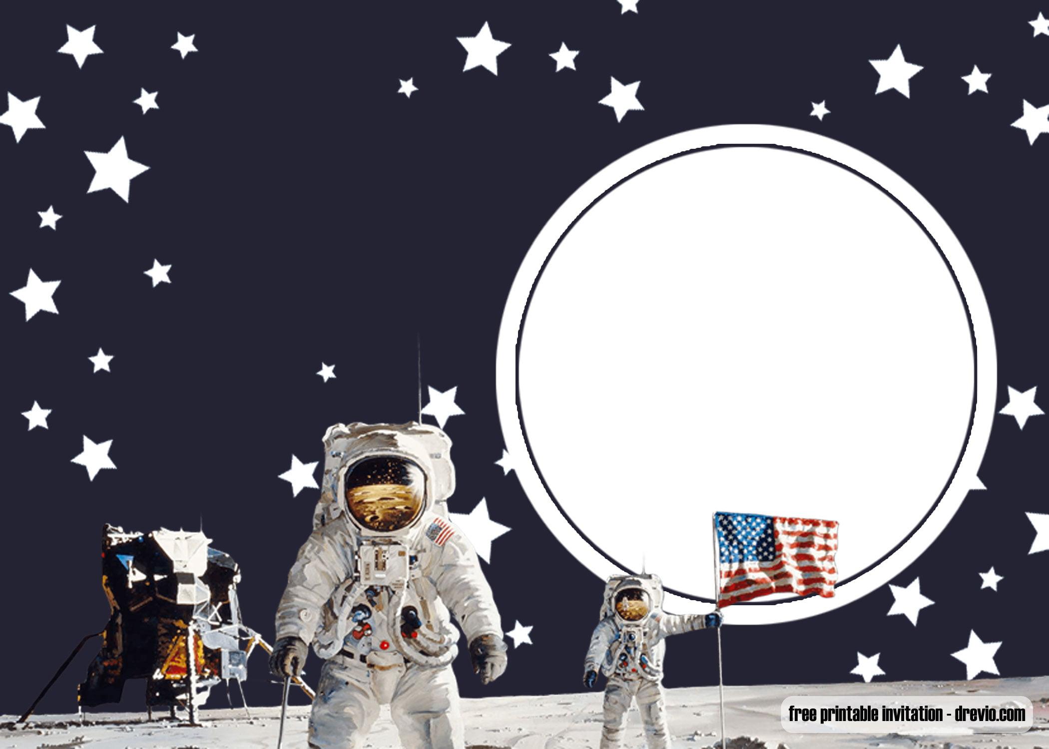 Free Printable Shuttle Space Birthday Invitation Templates
