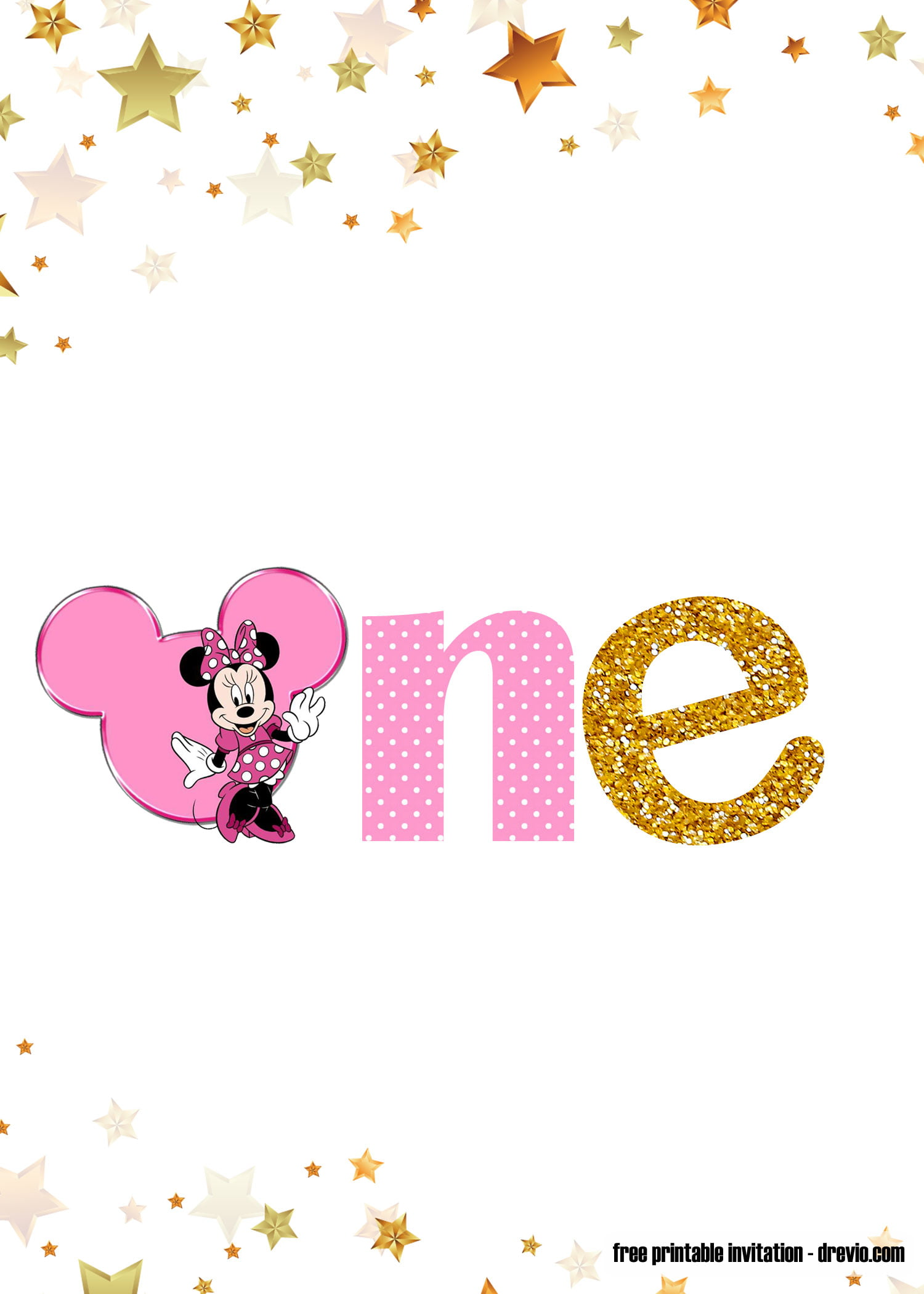 free printable pink and gold minnie