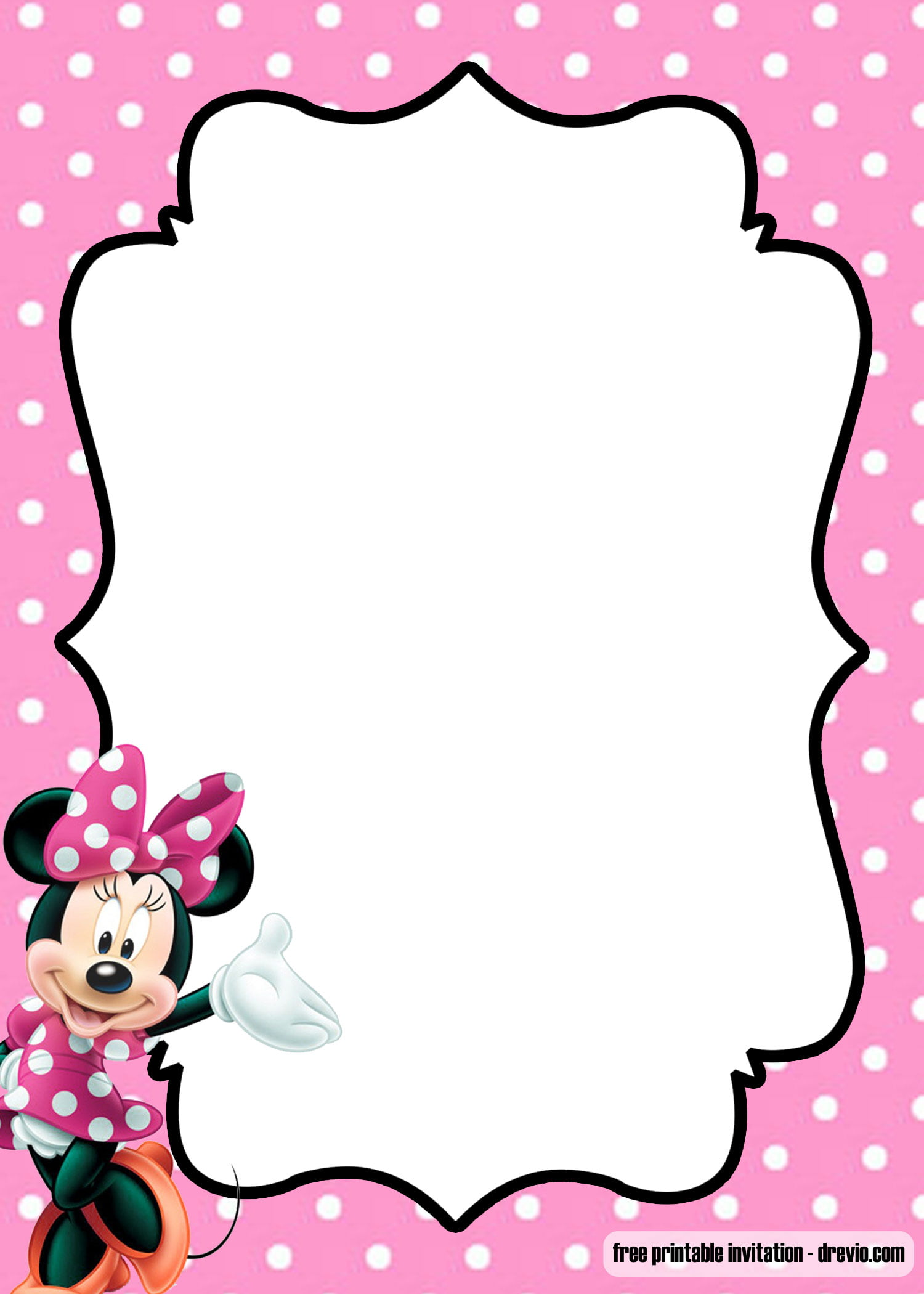 Free Polka Dot Pink Minnie Mouse Invitation Template