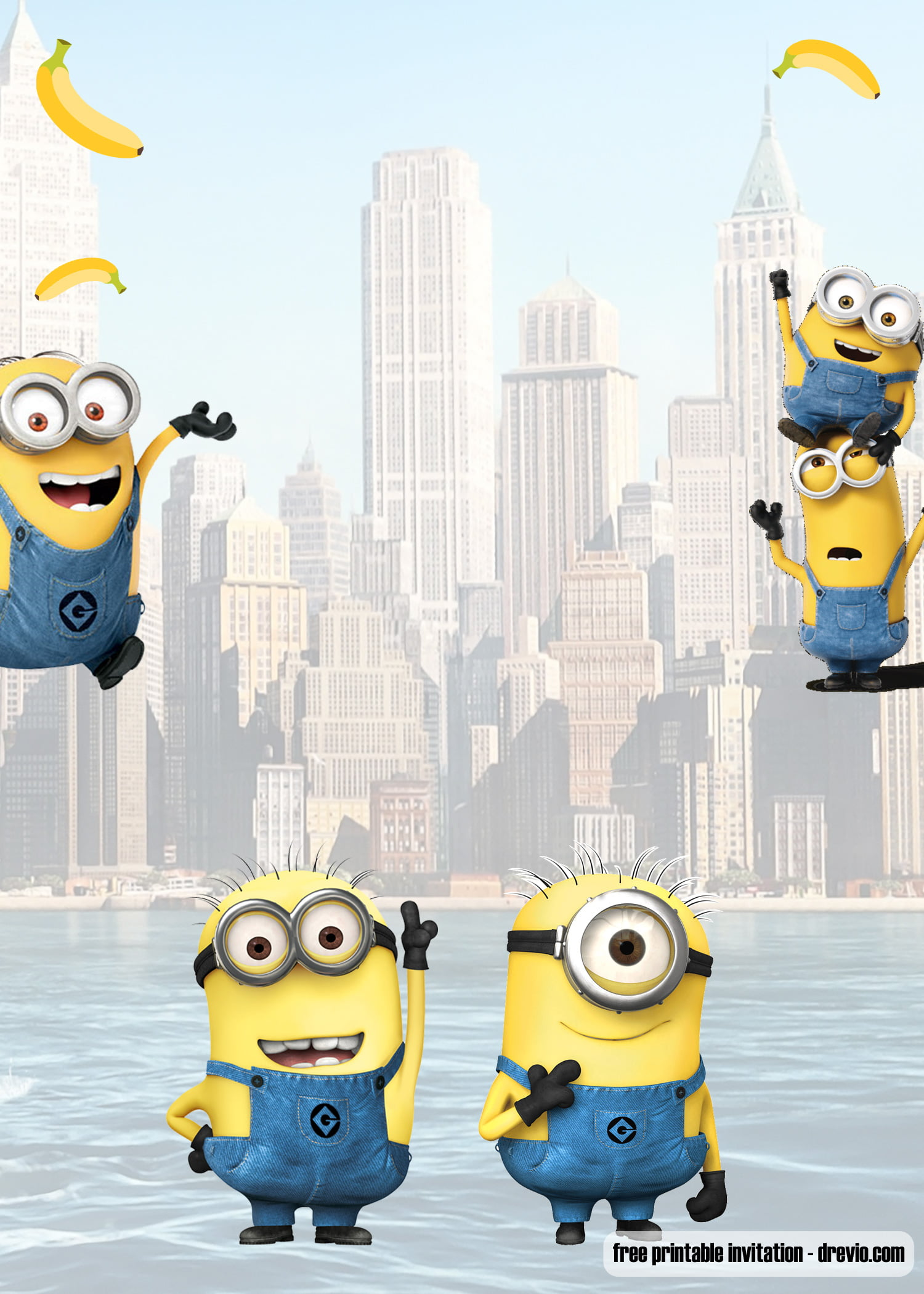 free printable minion banana party