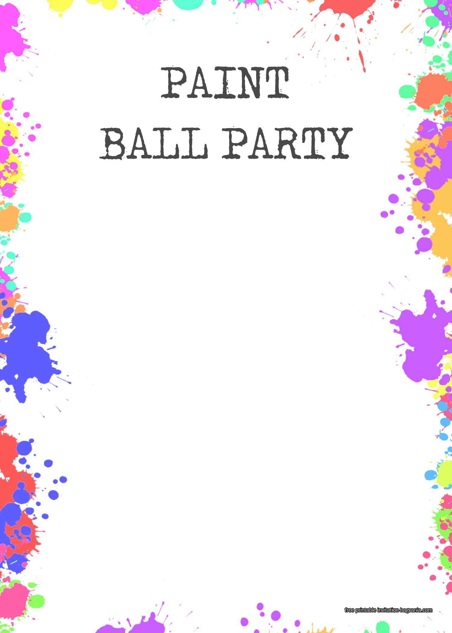free paintball party invitation