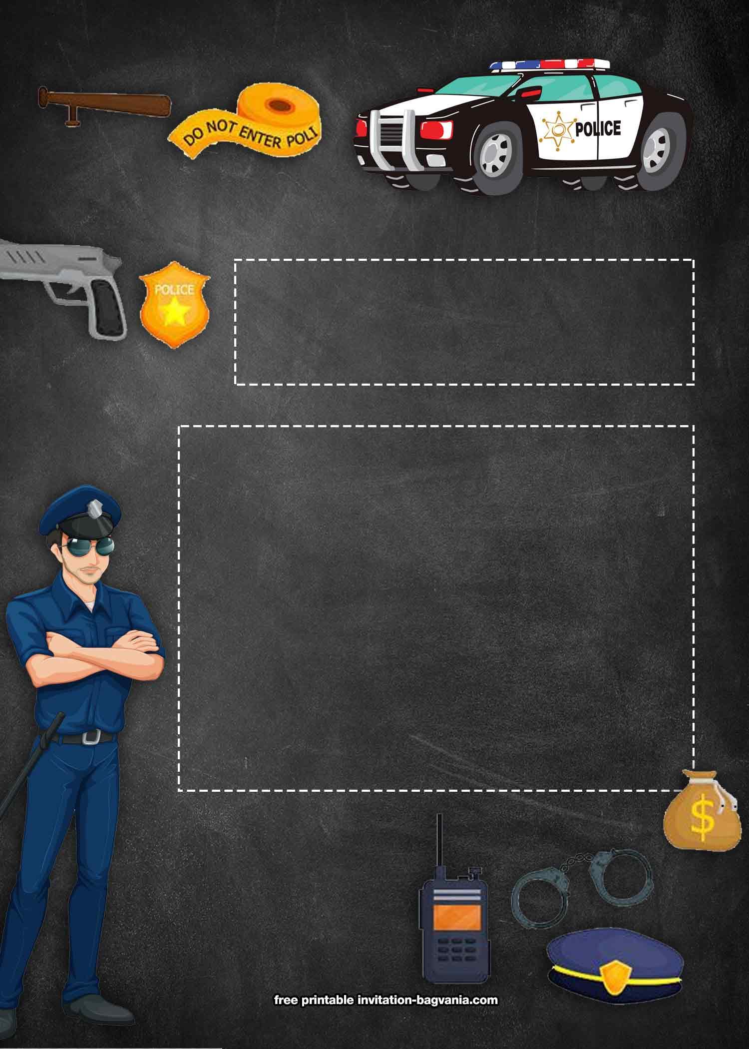 Free Policeman Birthday Invitations Template Free