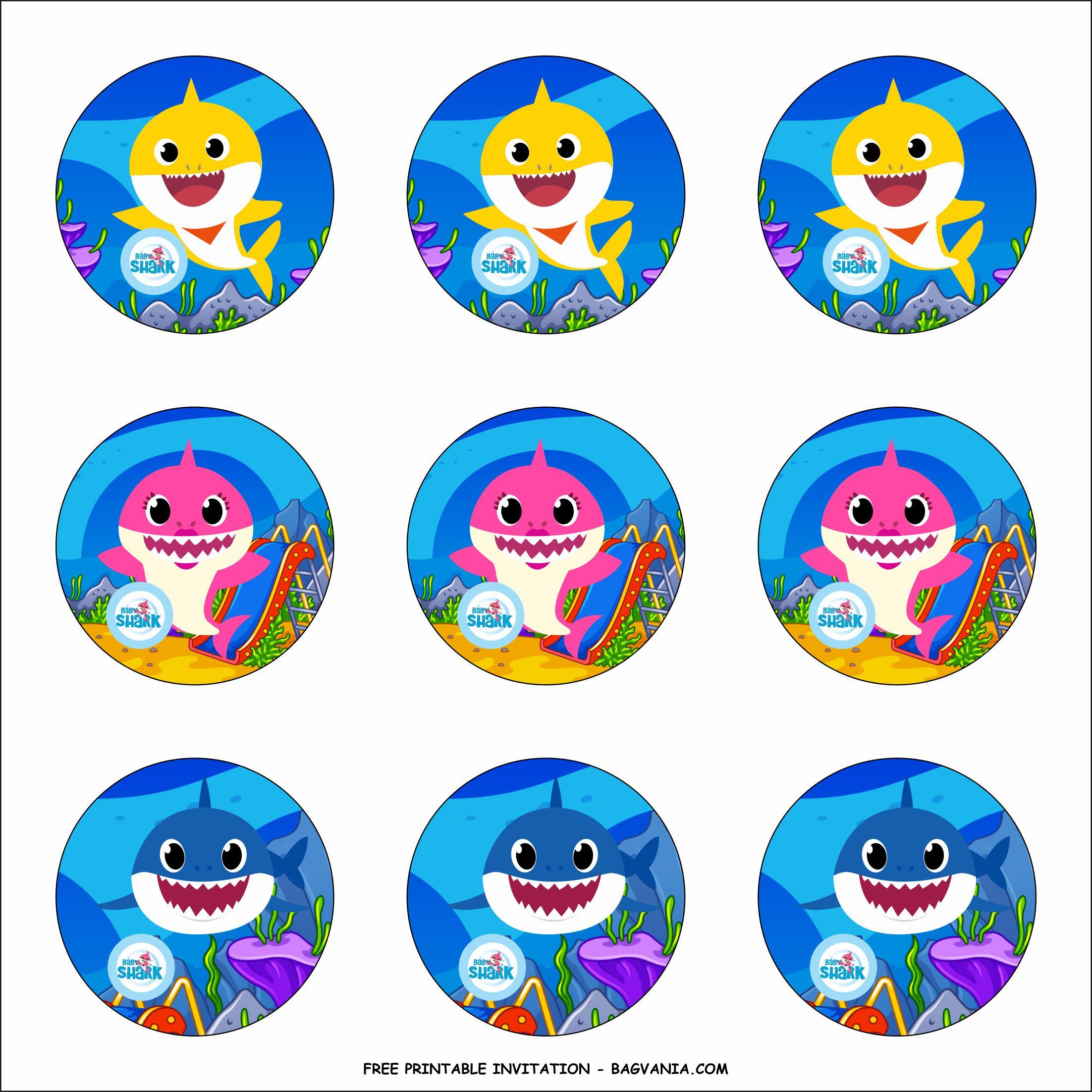 Free Printable Baby Shark Birthday Party Kits Template