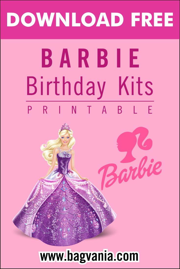 free printable pink barbie birthday