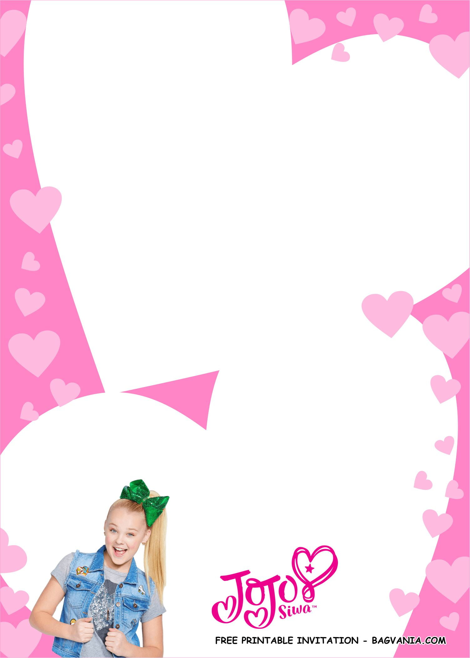 jojo siwa invitation templates 1 free