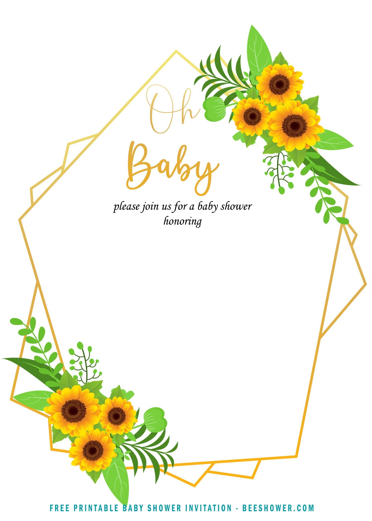 Free Printable Oh Baby Sunflower Invitation Templates