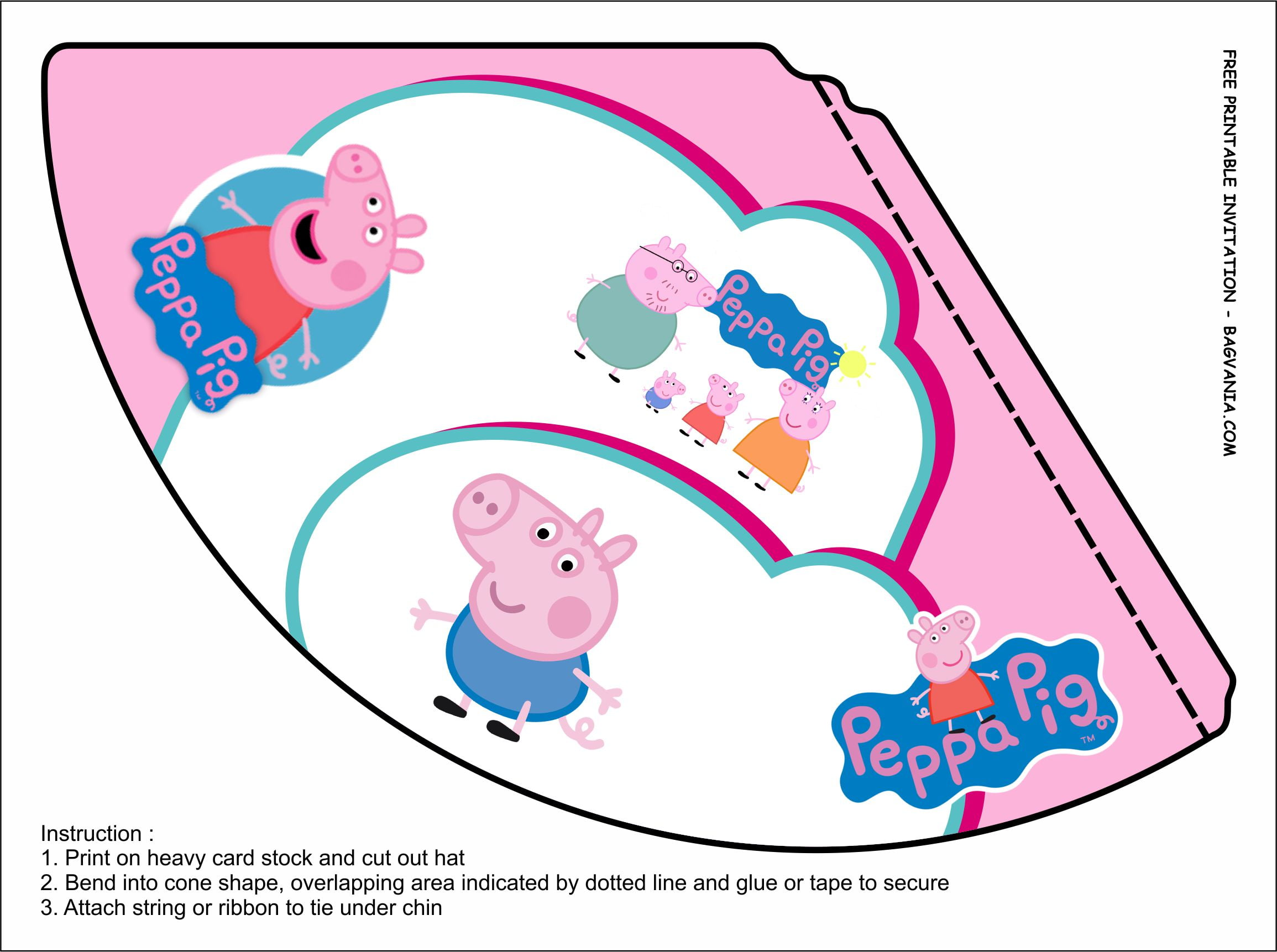peppa pig hat templates free