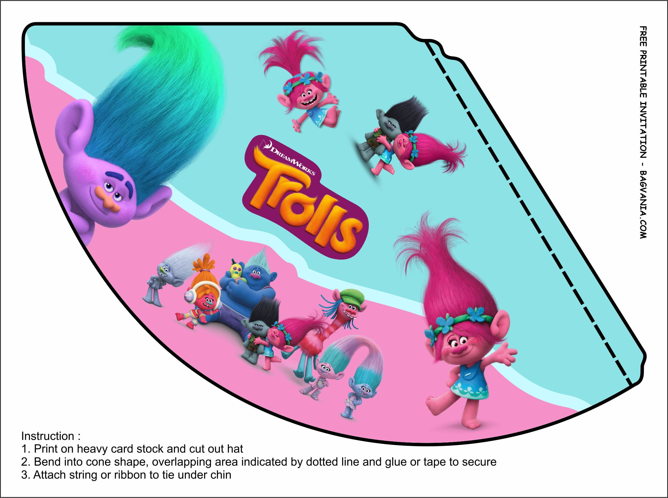 trolls birthday party kits template