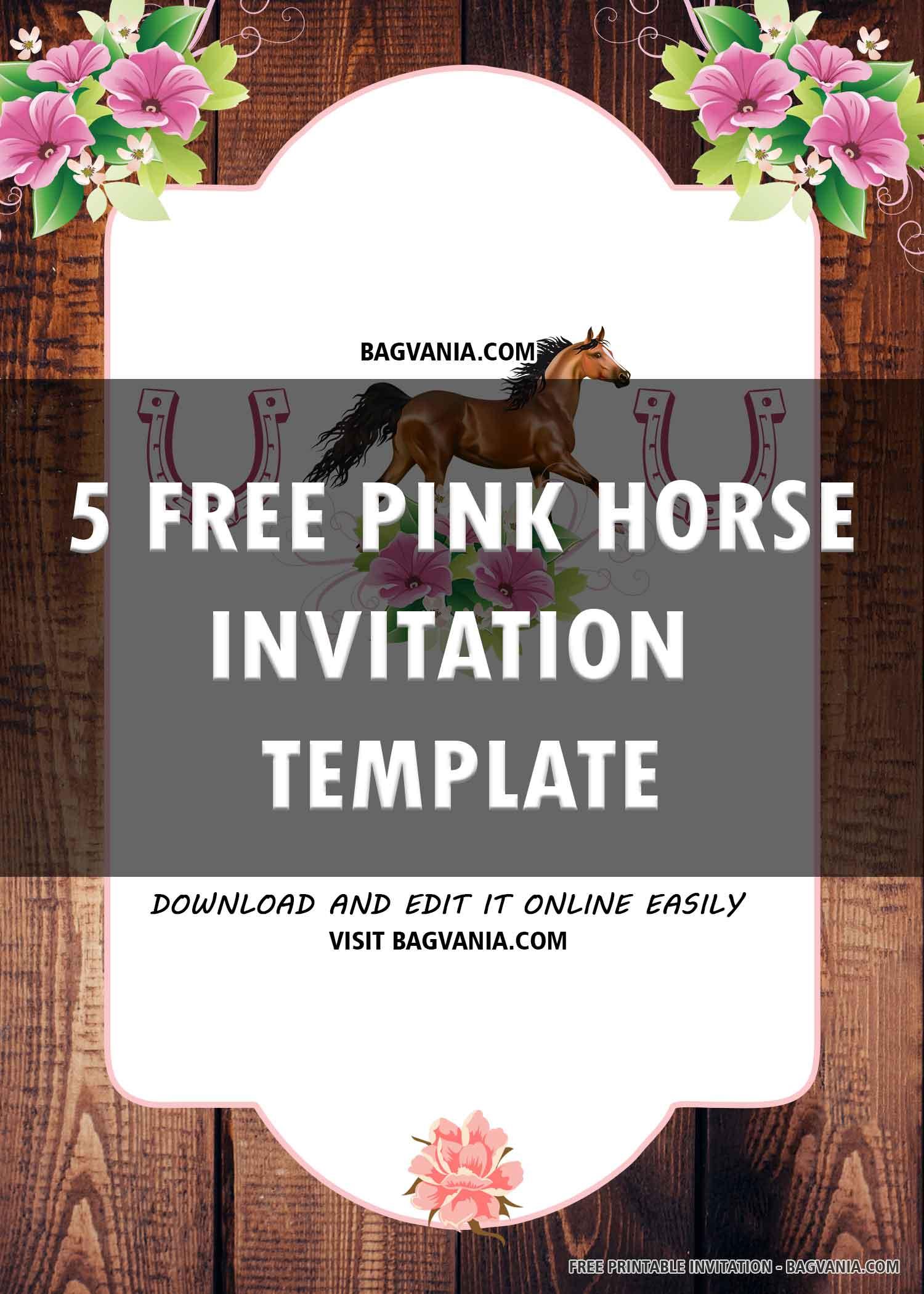 Free Printable Pink Horse Birthday Invitation