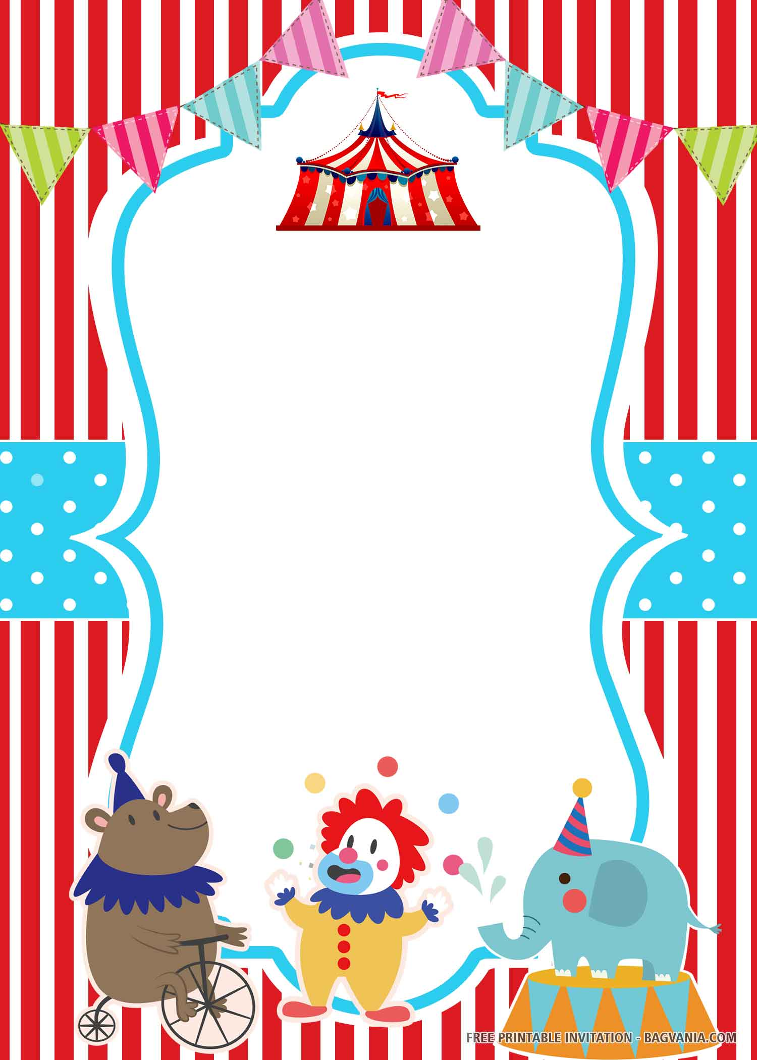 Free Printable Stripes Circus Birthday Invitation