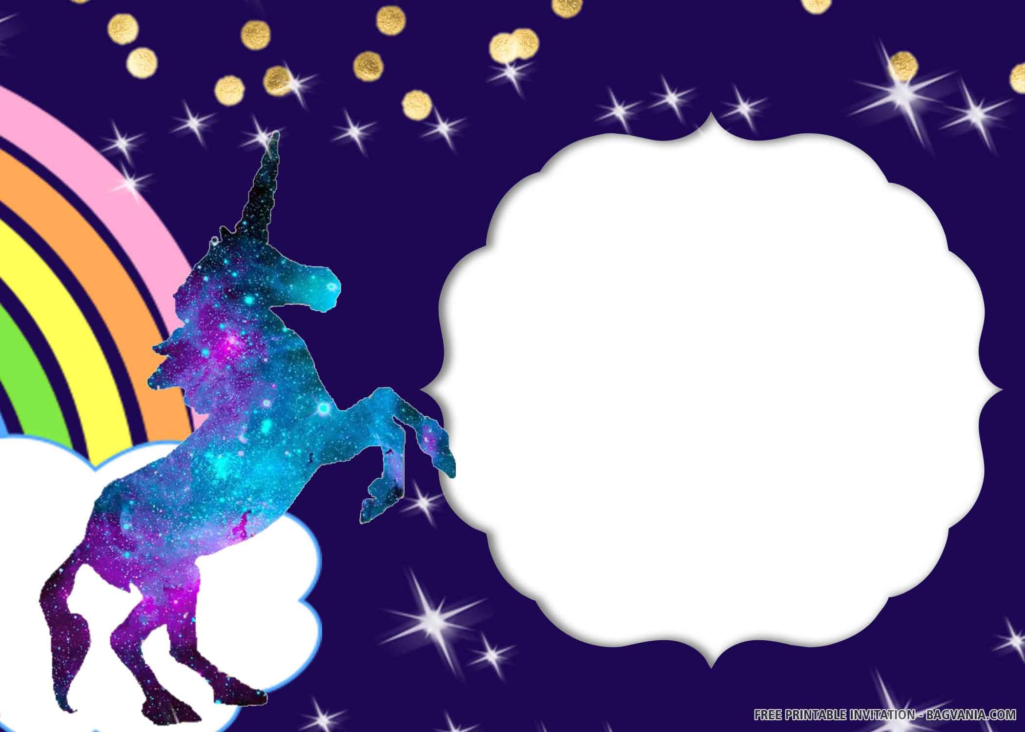 Free Printable Glitter Unicorn Birthday Invitation