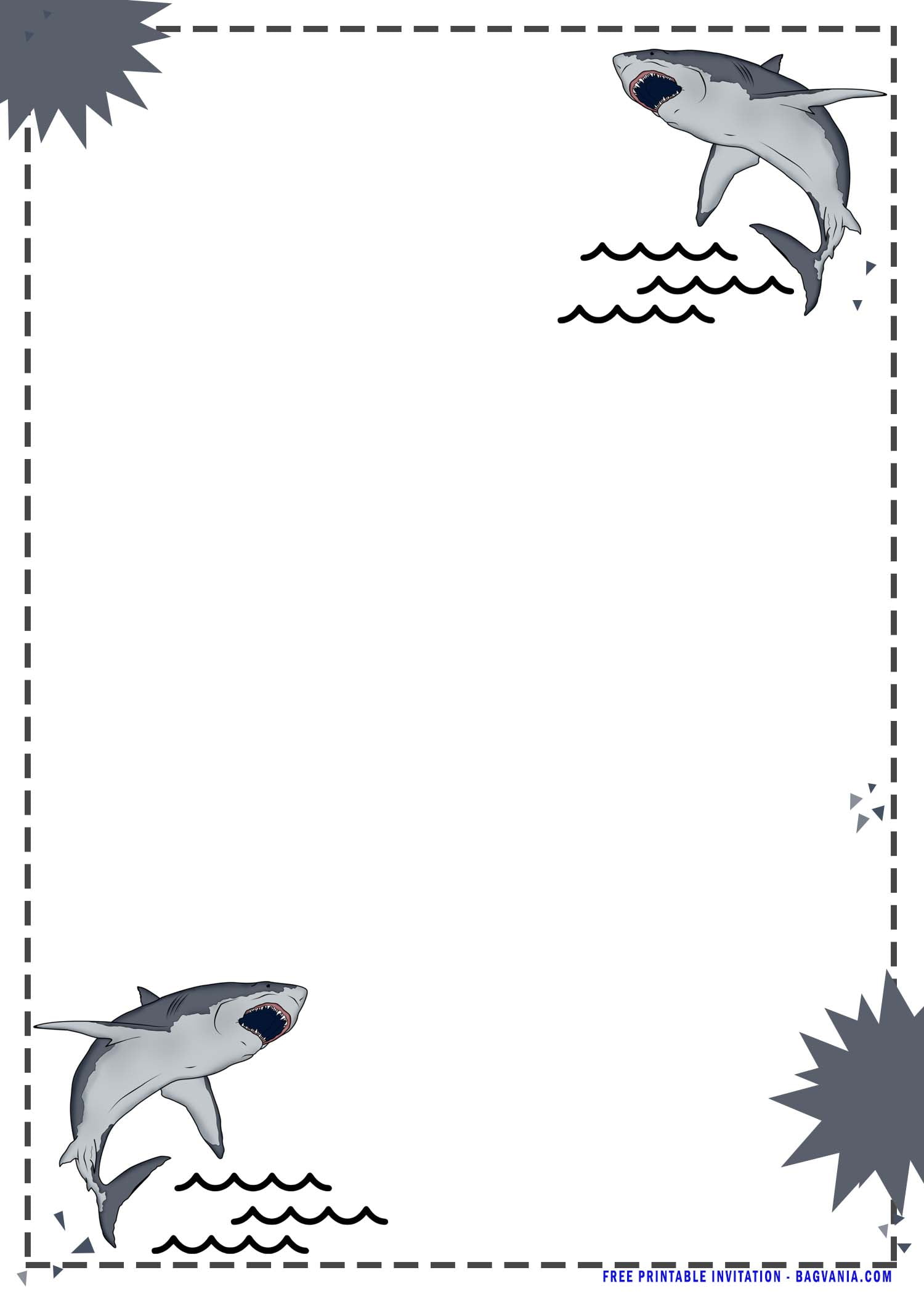 cute baby shark birthday invitation