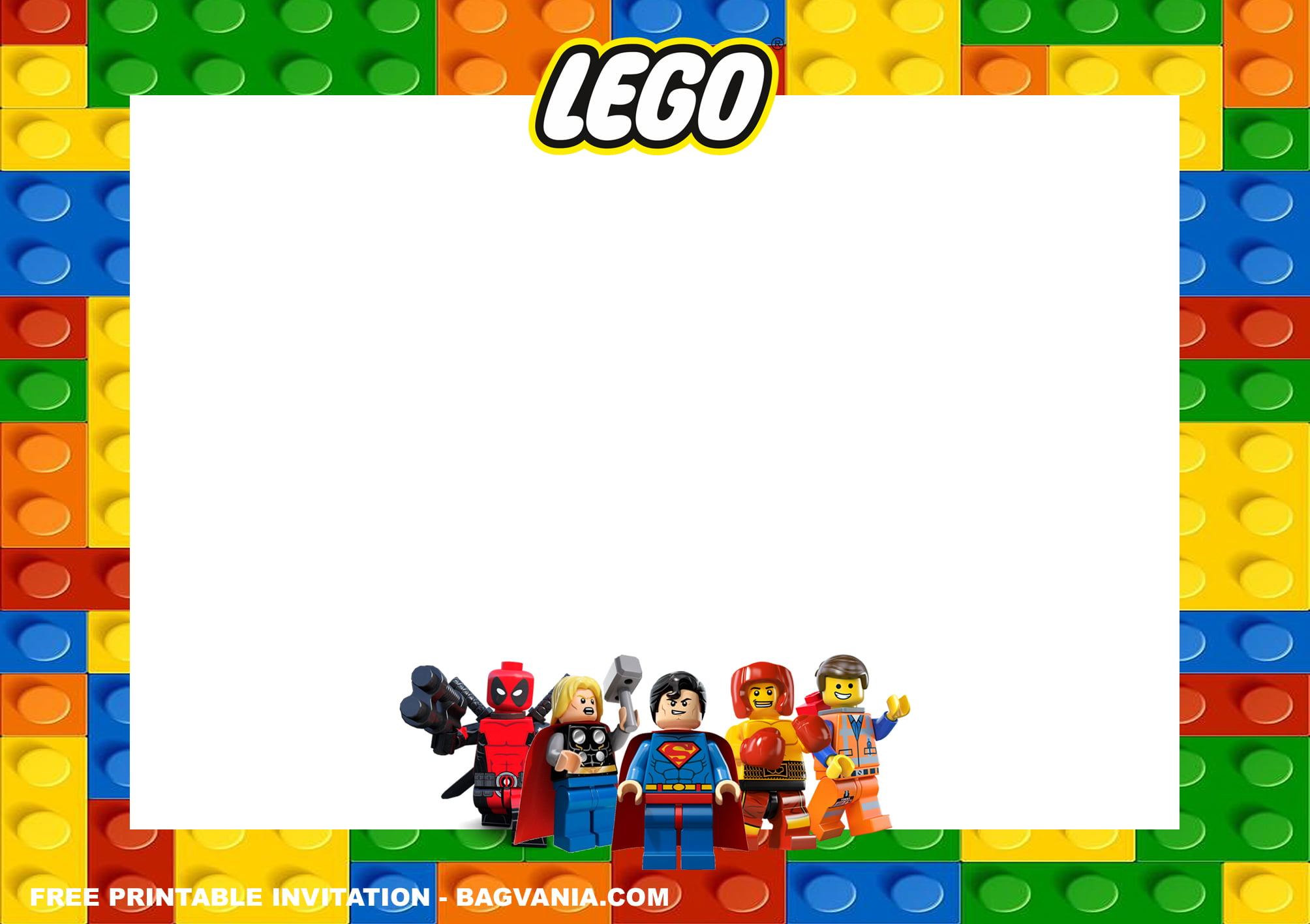 lego superheroes birthday invitation