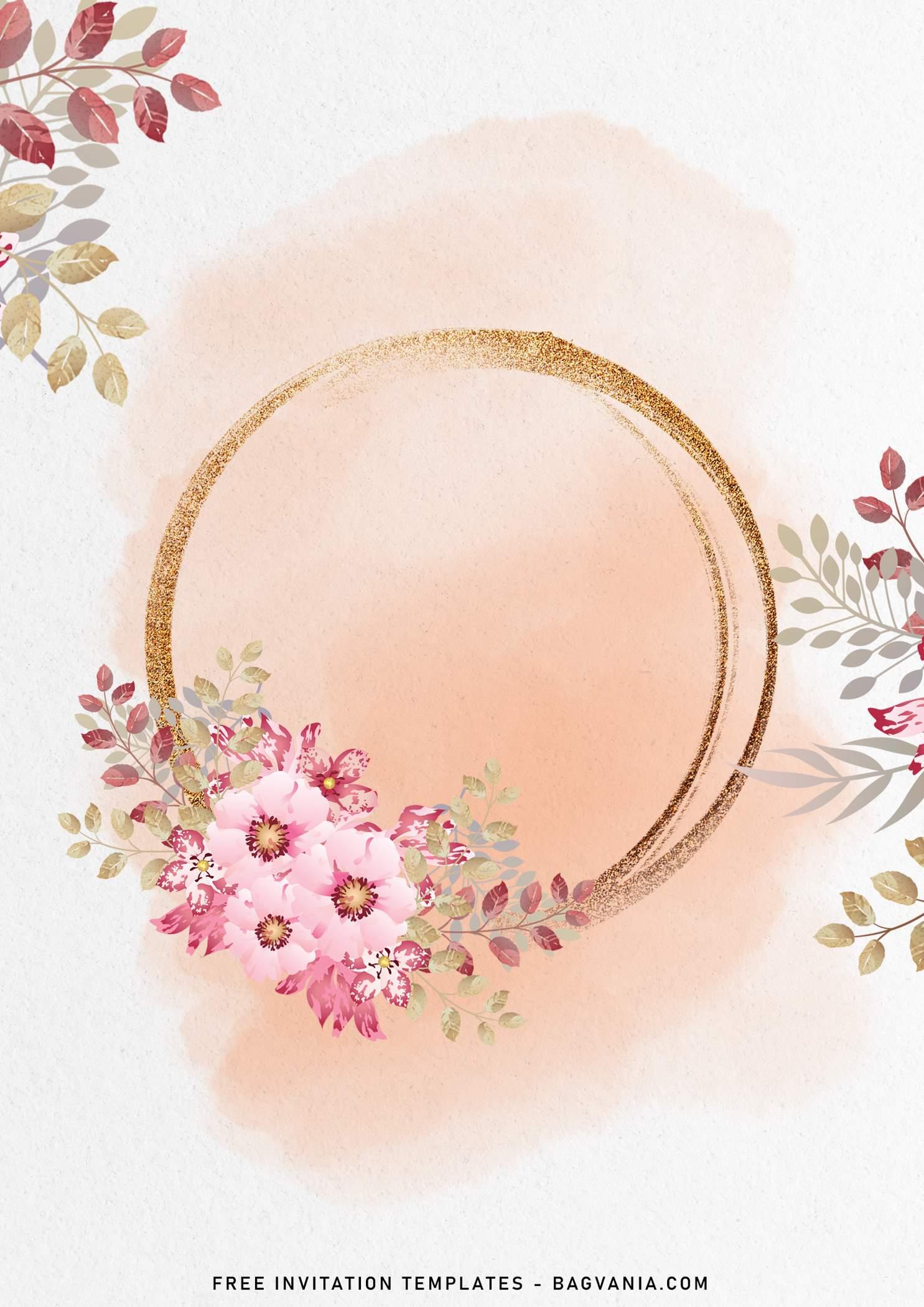 blush pink and gold birthday invitation