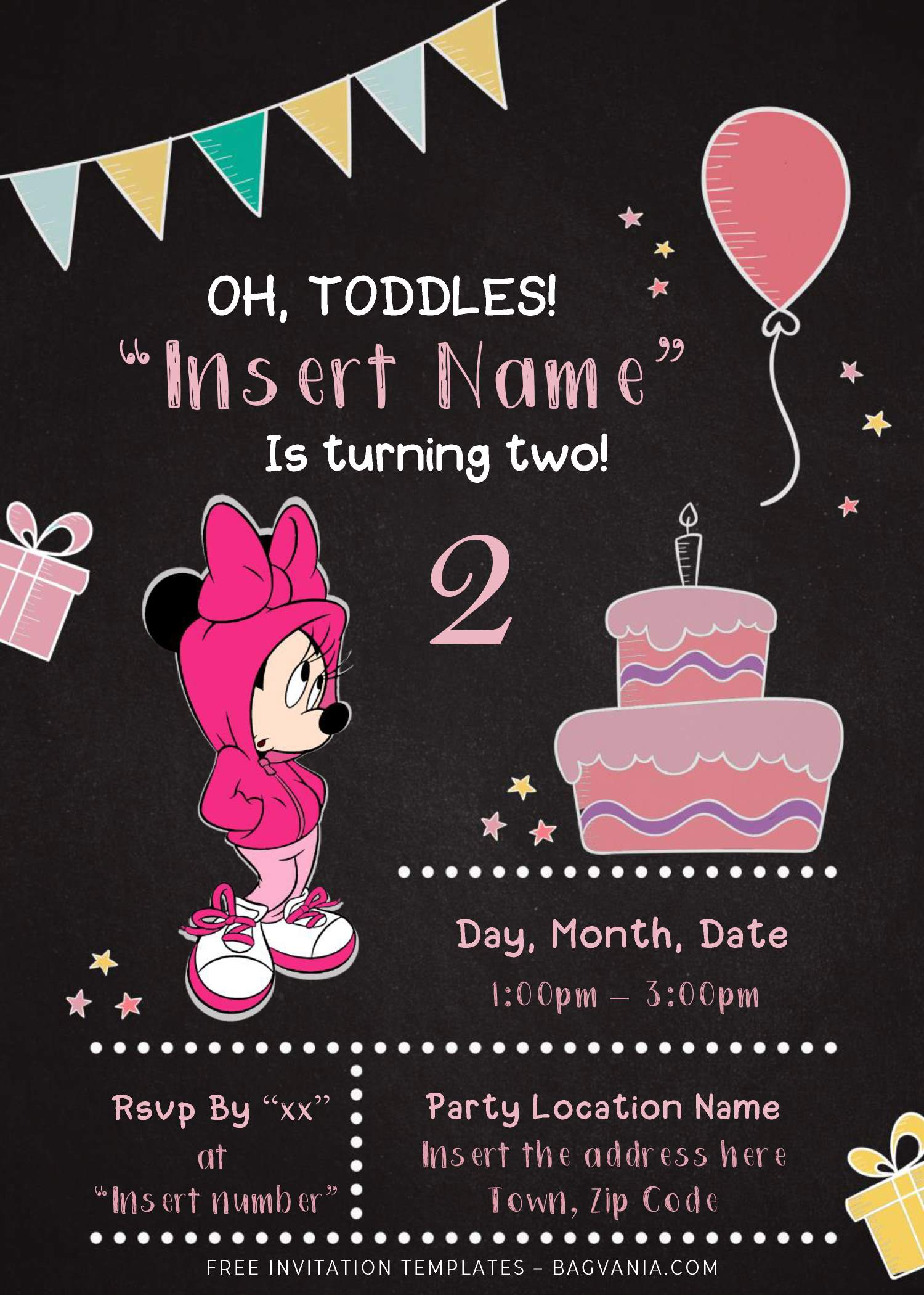 free minnie mouse chalkboard birthday