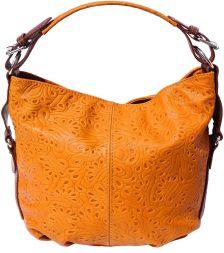 Δερμάτινη Τσάντα Ωμου Concetta Firenze Leather 3012s Πορτοκαλι/Καφε