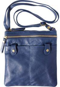 Δερμάτινο Τσαντακι Ωμου Wanda Firenze Leather 415 Σκουρο Μπλε