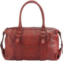 Δερμάτινη Τσάντα Χειρός Agnese Firenze Leather 68120 Σκουρο Κόκκινο