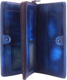 Γυναικειο Δερματινο Πορτοφολι Boris Firenze Leather 53514 Σκουρο Μπλε