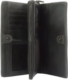 Γυναικειο Δερματινο Πορτοφολι Boris Firenze Leather 53514 Μαύρο