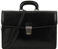 Ανδρική Επαγγελματική Τσάντα Δερμάτινη Amalfi Μαύρο Tuscany Leather