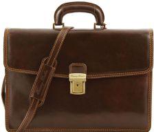Ανδρική Επαγγελματική Τσάντα Δερμάτινη Amalfi Καφέ Σκούρο Tuscany Leather