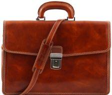 Ανδρική Επαγγελματική Τσάντα Δερμάτινη Amalfi Μελί Tuscany Leather
