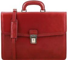 Ανδρική Επαγγελματική Τσάντα Δερμάτινη Amalfi Κόκκινο Tuscany Leather