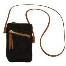 Δερματινο Τσαντακι Ωμου Adriana Firenze Leather 8612 Μαύρο/Tan