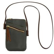 Δερματινο Τσαντακι Ωμου Adriana Firenze Leather 8612 Γκρι/Καφέ