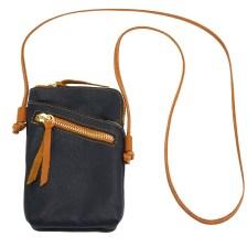 Δερματινο Τσαντακι Ωμου Adriana Firenze Leather 8612 Σκούρο Μπλε/Tan